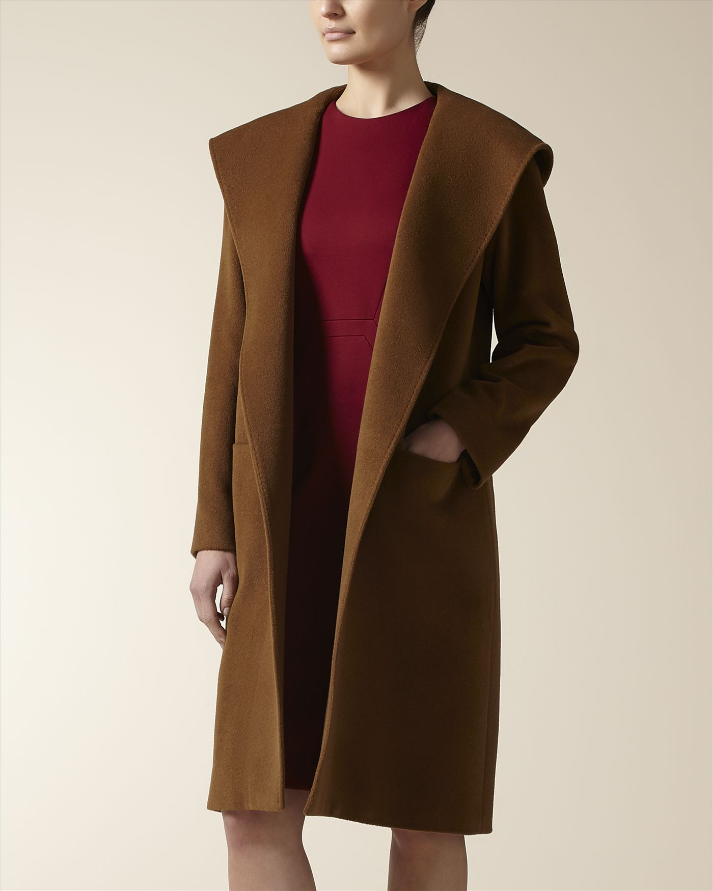 Jaeger Wool Cashmere Hooded Wrap Coat in Brown | Lyst