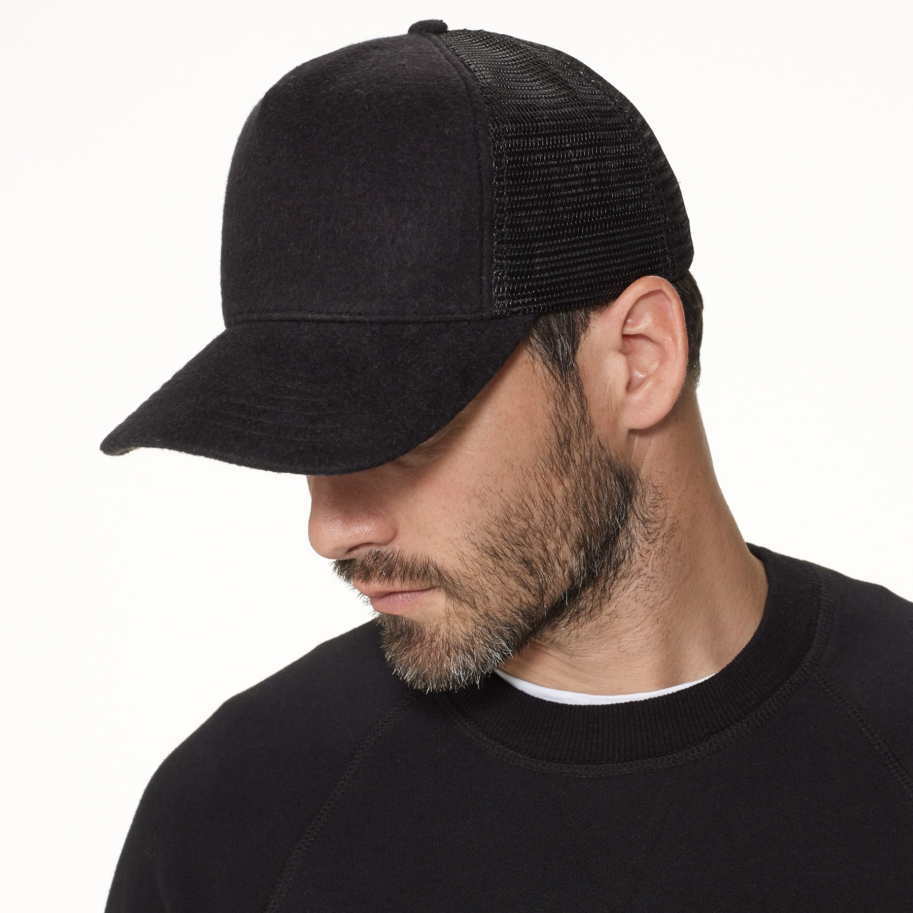 james perse double face knit trucker hat in black for men lyst. Black Bedroom Furniture Sets. Home Design Ideas