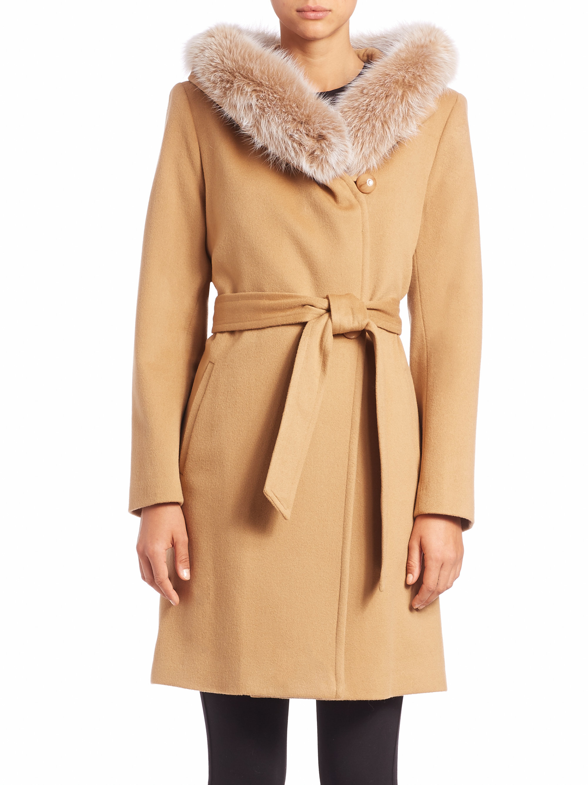 Sofia cashmere Wool &amp Cashmere Fur-trimmed Hooded Short Wrap Coat