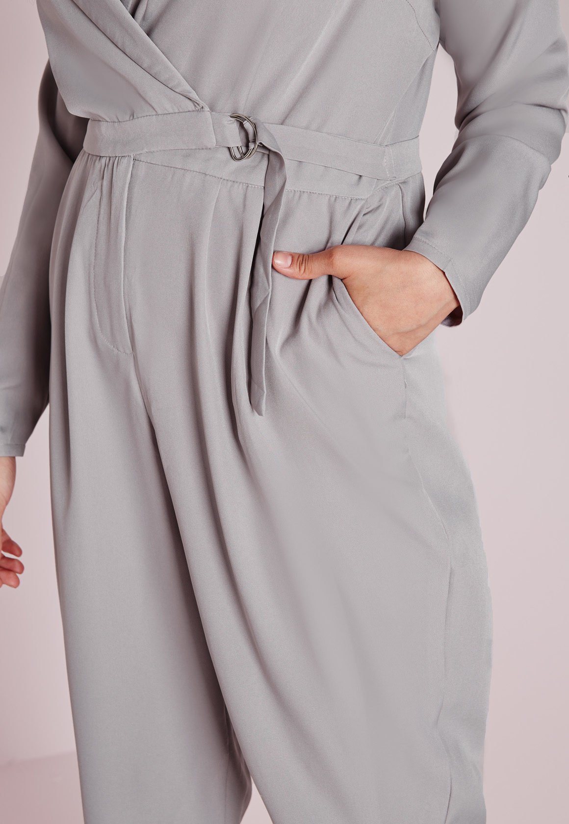 Lyst Missguided Plus Size D Ring Wrap Jumpsuit Grey In Gray