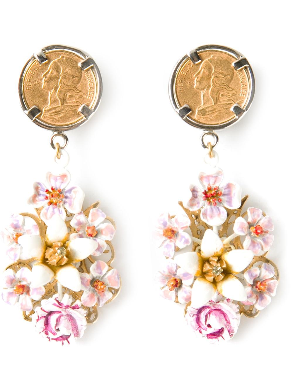 1bb1afc61 Dolce & Gabbana Floral Drop Earrings in Metallic - Lyst