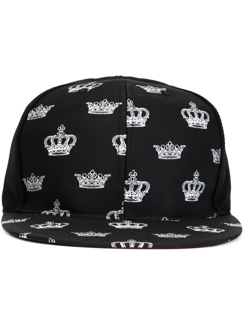 b52b26a318a55 Dolce   Gabbana Crown Print Cap in Black for Men - Lyst