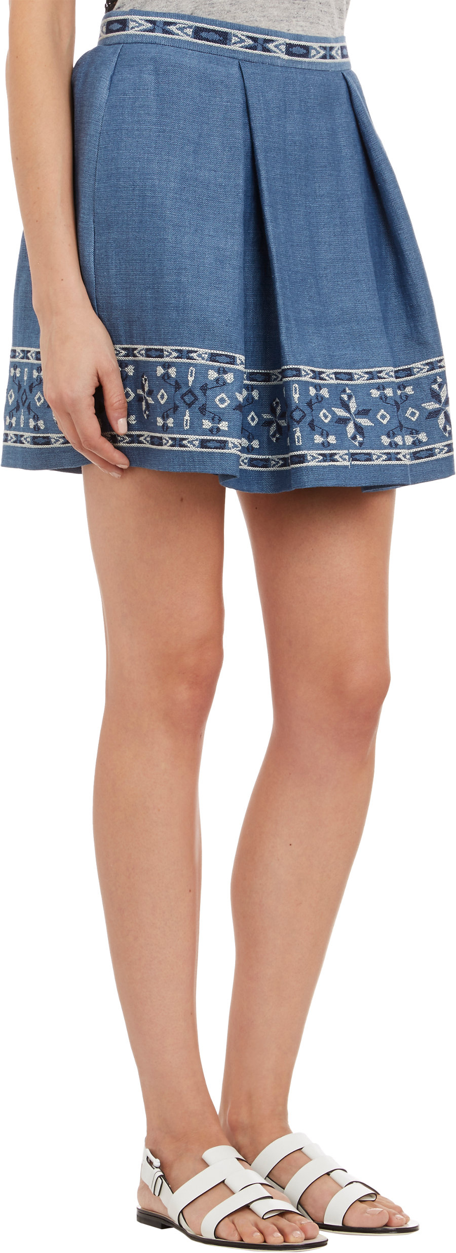 sea embroidered denim skirt in blue lyst