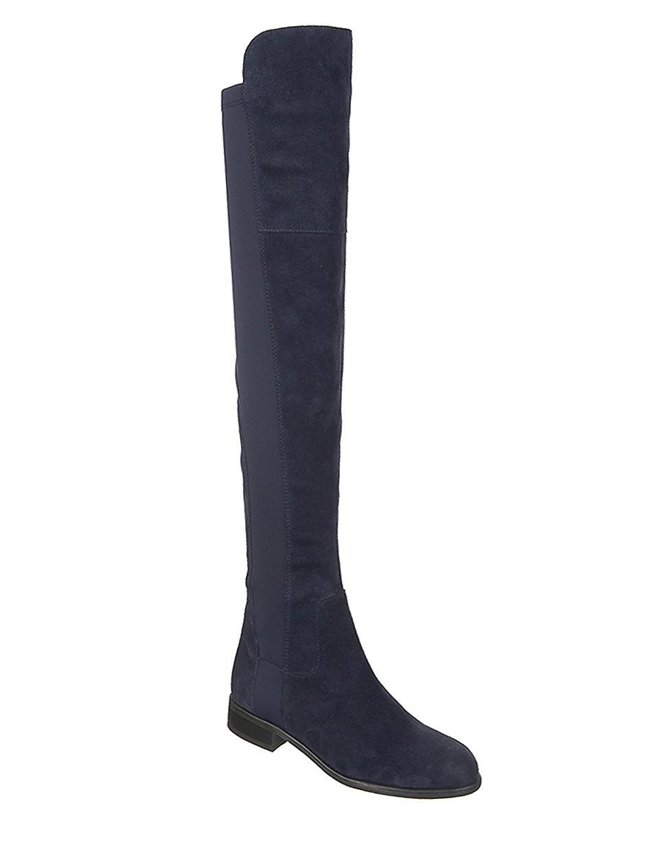 Franco sarto motor suede knee high boots in blue lyst for Franco sarto motor over the knee boots