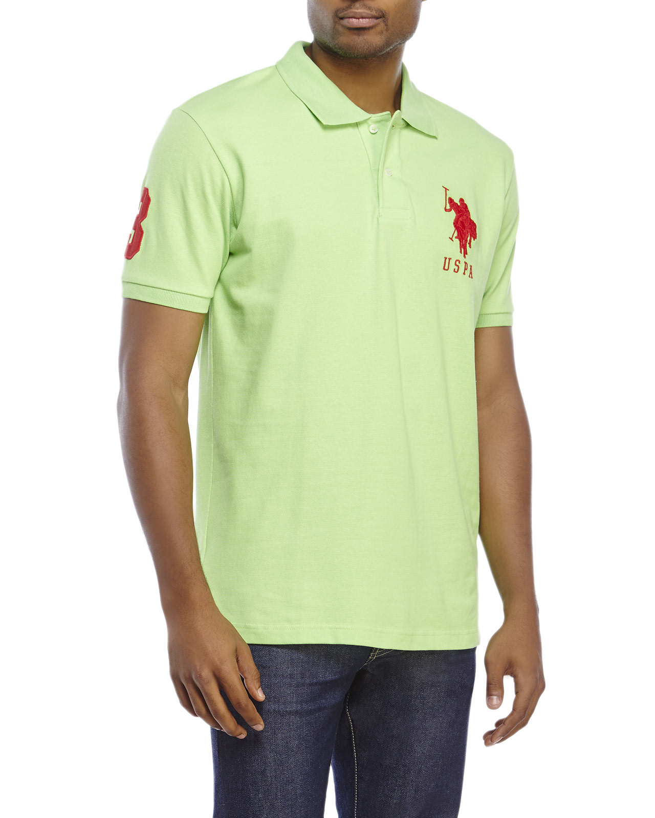 Lyst u s polo assn big logo polo shirt in green for men for Us polo shirts for mens