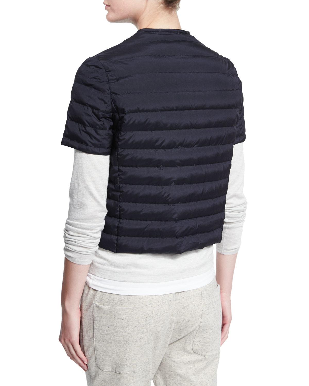 130a029e7 Brunello Cucinelli Blue Quilted Silk Short-sleeve Jacket