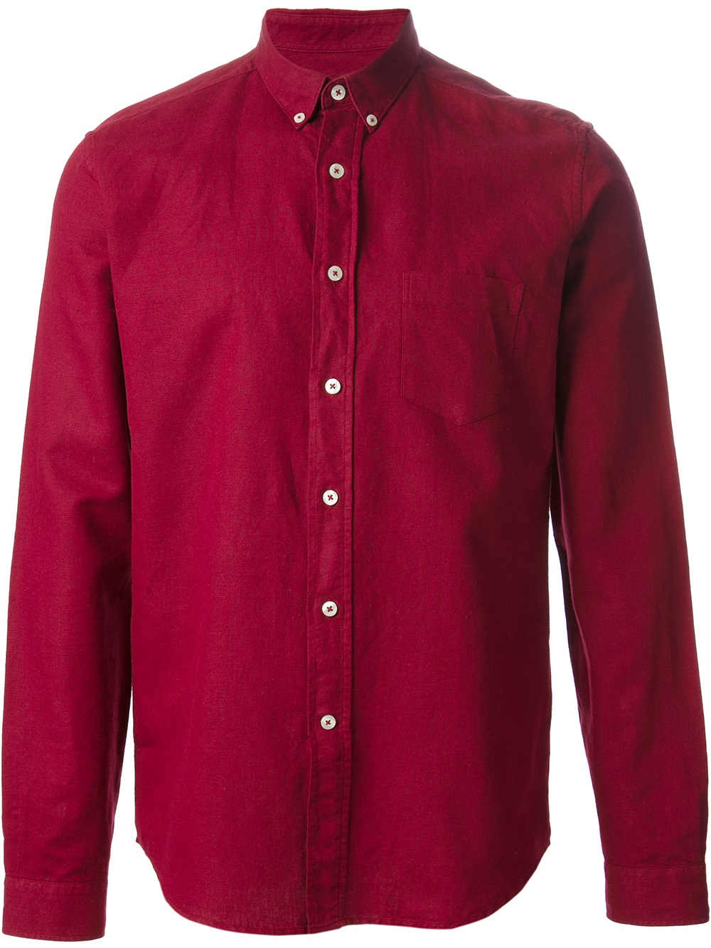 Ami Button Down Shirt In Red For Men Lyst