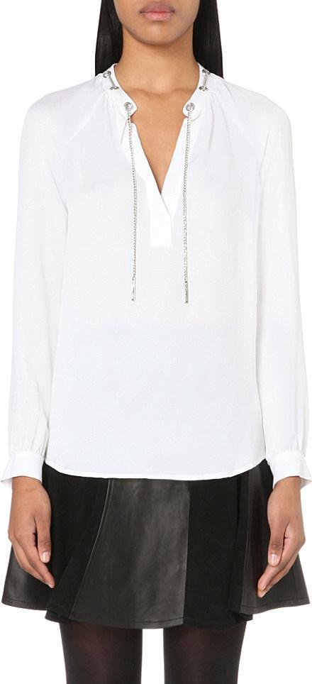 ac13b67f1640d MICHAEL Michael Kors Chain-embellished Silk Shirt in White - Lyst