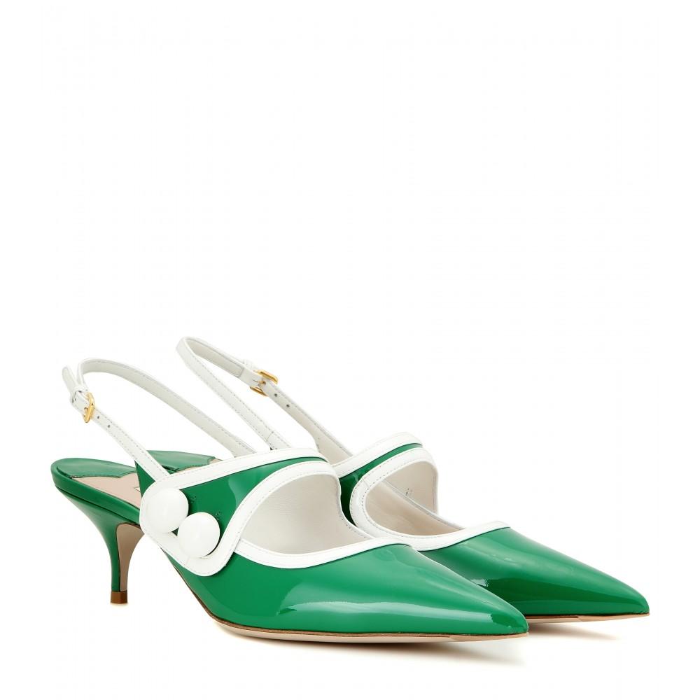 14952dac4f4b Miu Miu Patent Leather Slingback Kitten-heel Pumps in Green - Lyst