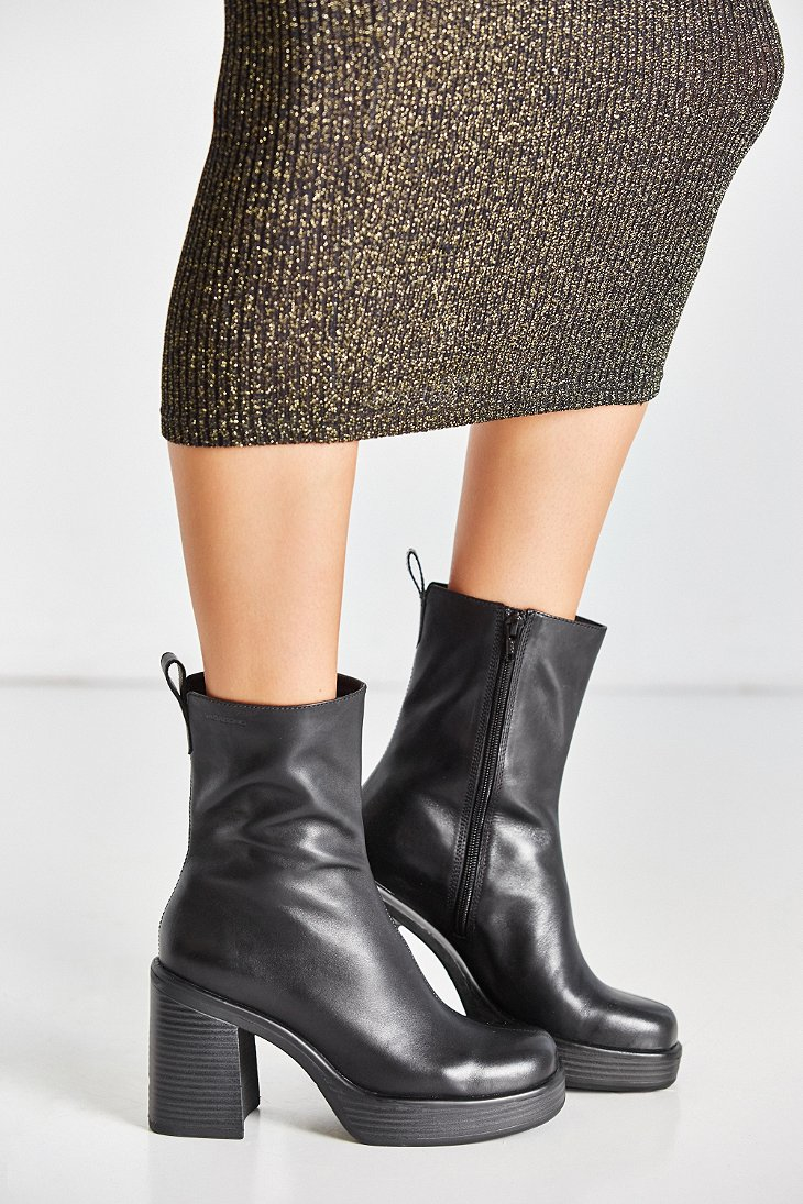 Vagabond Leather Tyra Mid Length Boot In Black Lyst