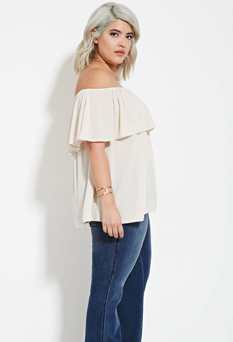 bfc71947e69 Lyst - Forever 21 Plus Size Off-the-shoulder Flounce Top in Brown
