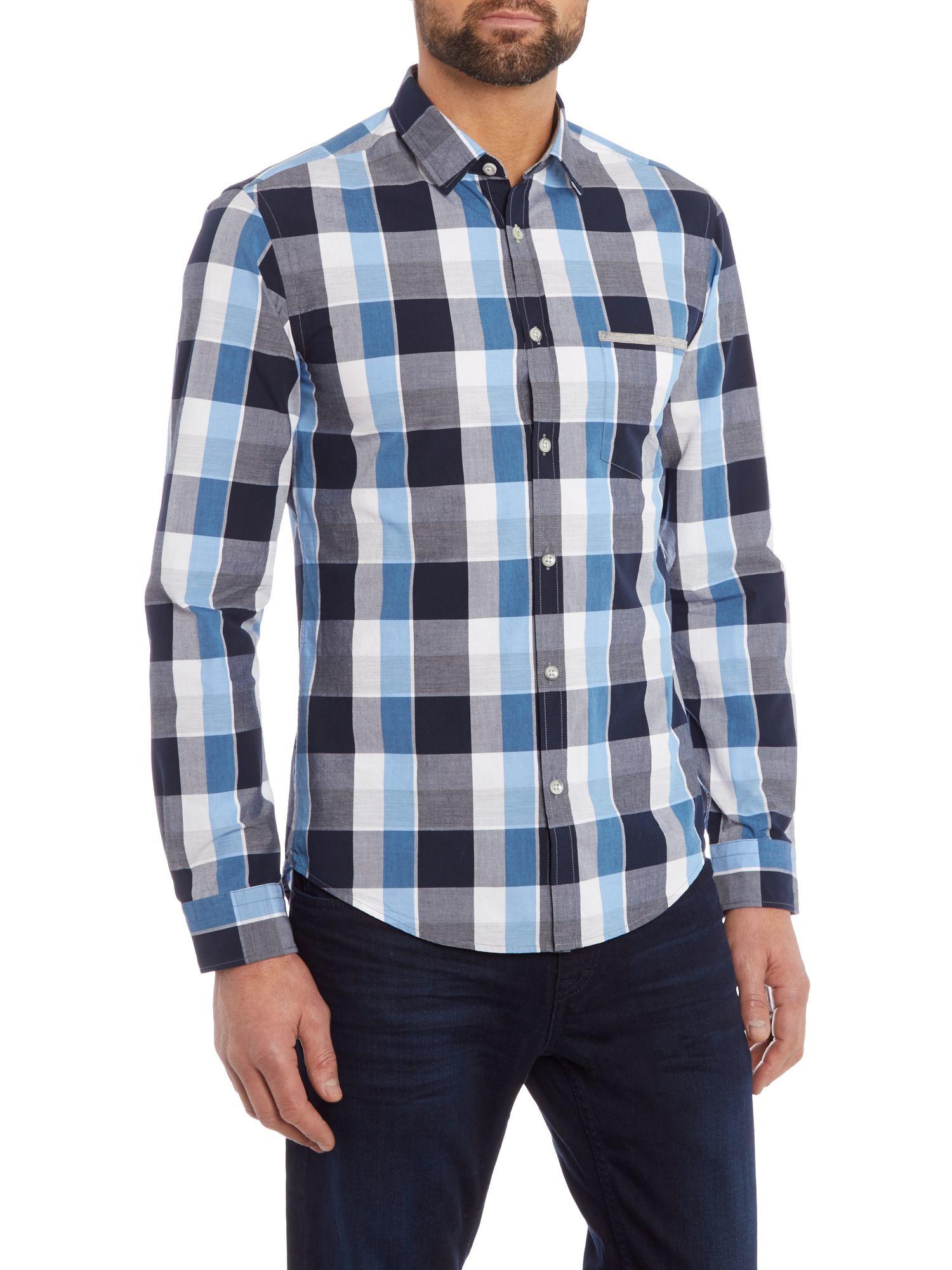 Lyst boss baako slim fit poplin check shirt in blue for men for Slim fit check shirt