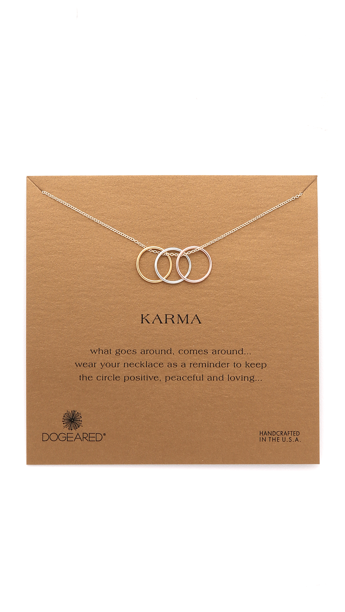 Dogeared Triple Karma Ring Necklace - Silver/rose Gold in Metallic