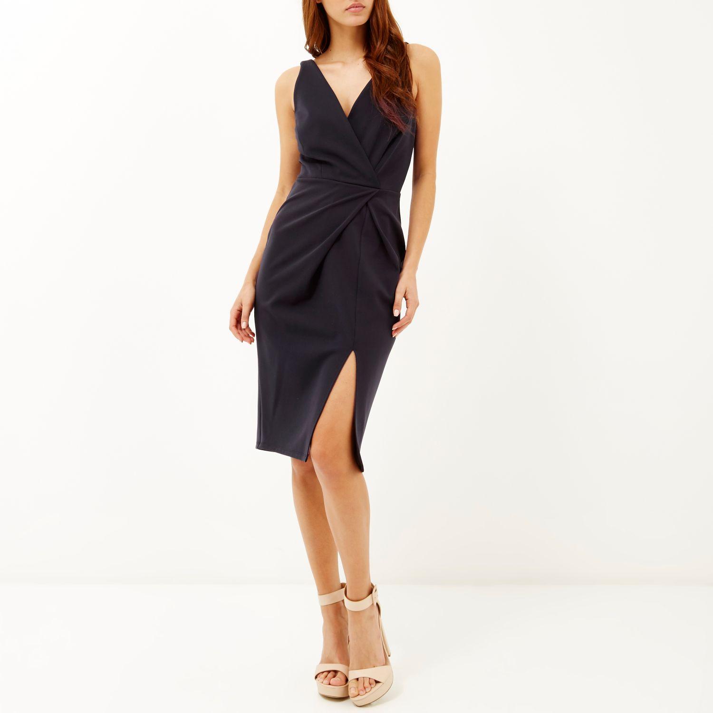 Wal g wrap detail dress with metallic stripe in blue navy lyst - Gallery Women S Navy Dresses