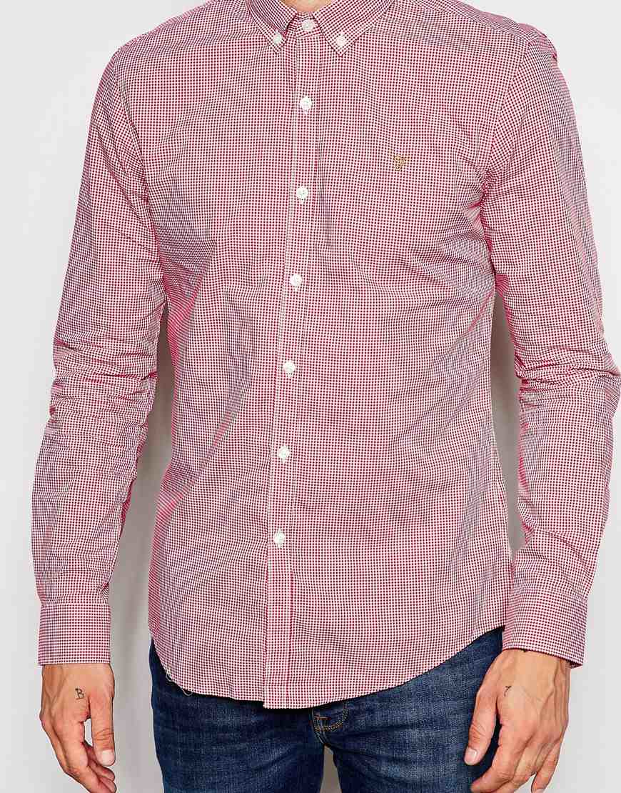 Farah shirt with gingham check slim fit in red for men lyst for Slim fit gingham check shirt