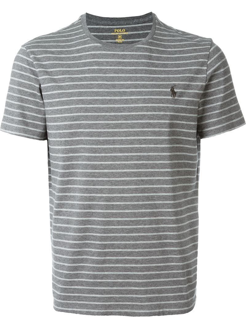 Polo ralph lauren striped t shirt in gray for men lyst for Grey striped t shirt