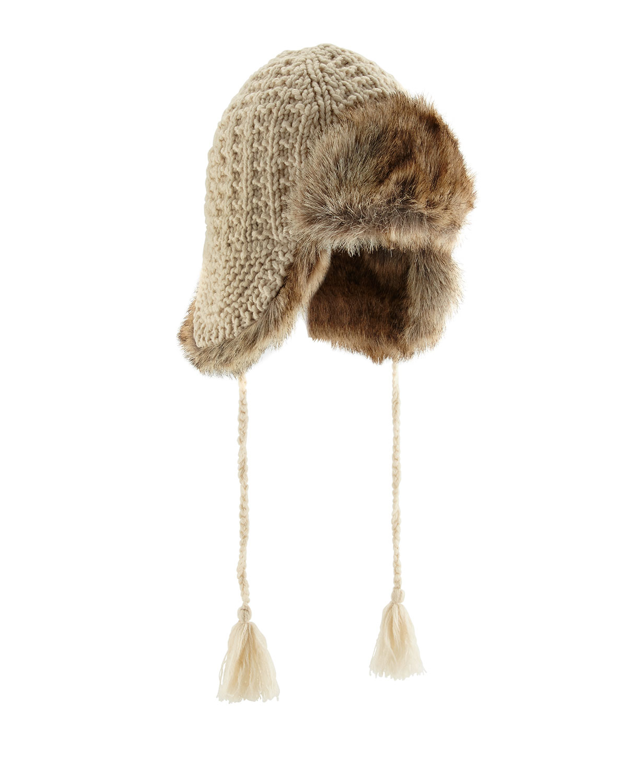 1fe69f3cec4d6d Hat Attack Knit Faux-fur Trapper Hat in Natural - Lyst