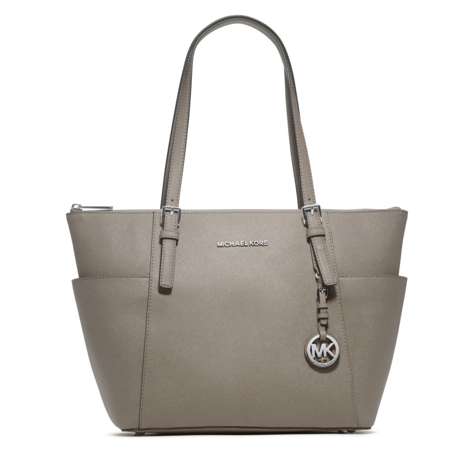 michael kors jet set top zip saffiano leather tote in gray. Black Bedroom Furniture Sets. Home Design Ideas