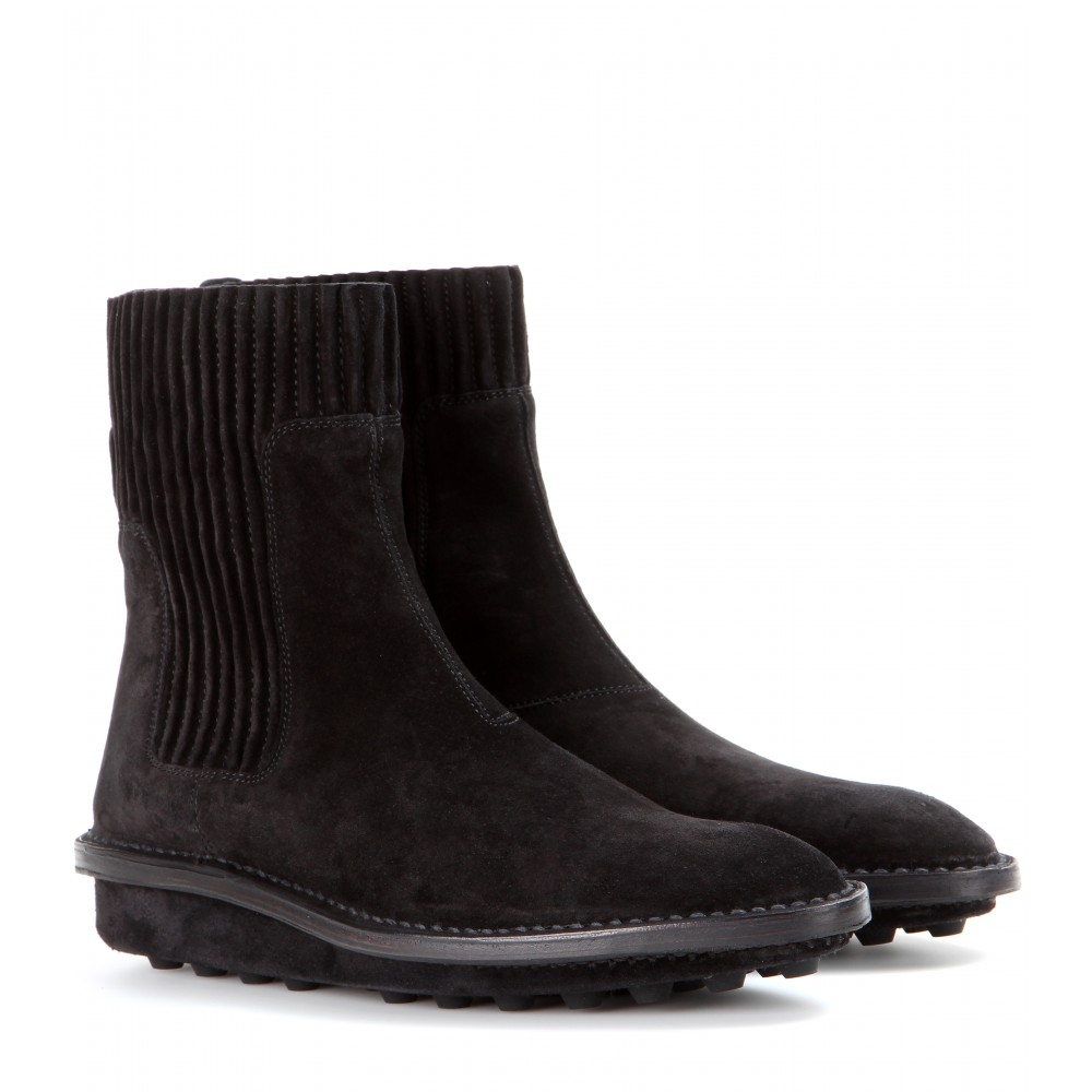 Lyst Balenciaga Suede Ankle Boots In Black