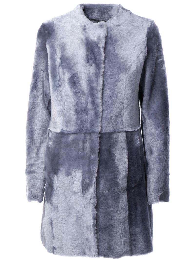 Drome Reversible Shearling Coat in Blue | Lyst