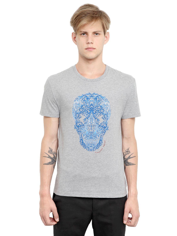Alexander mcqueen Cotton Jersey Lace Skull T-shirt in Gray ...