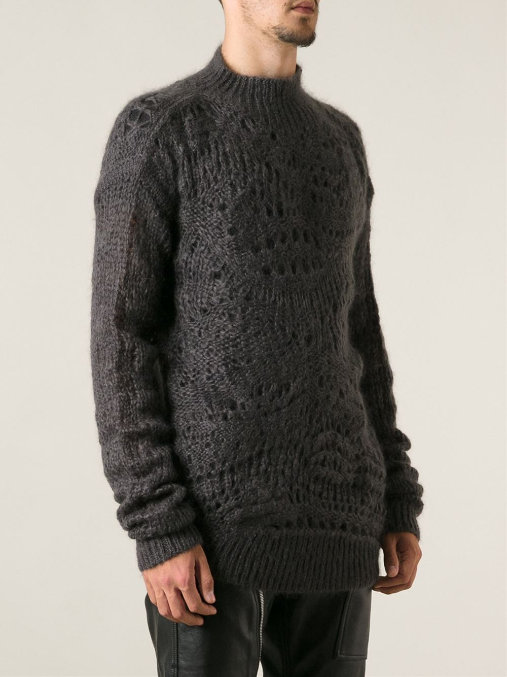 Rick owens Loose Crochet Knit Sweater in Gray for Men | Lyst