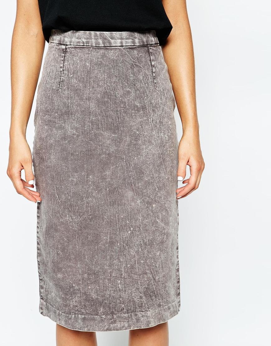 cheap monday denim pencil skirt in gray lyst