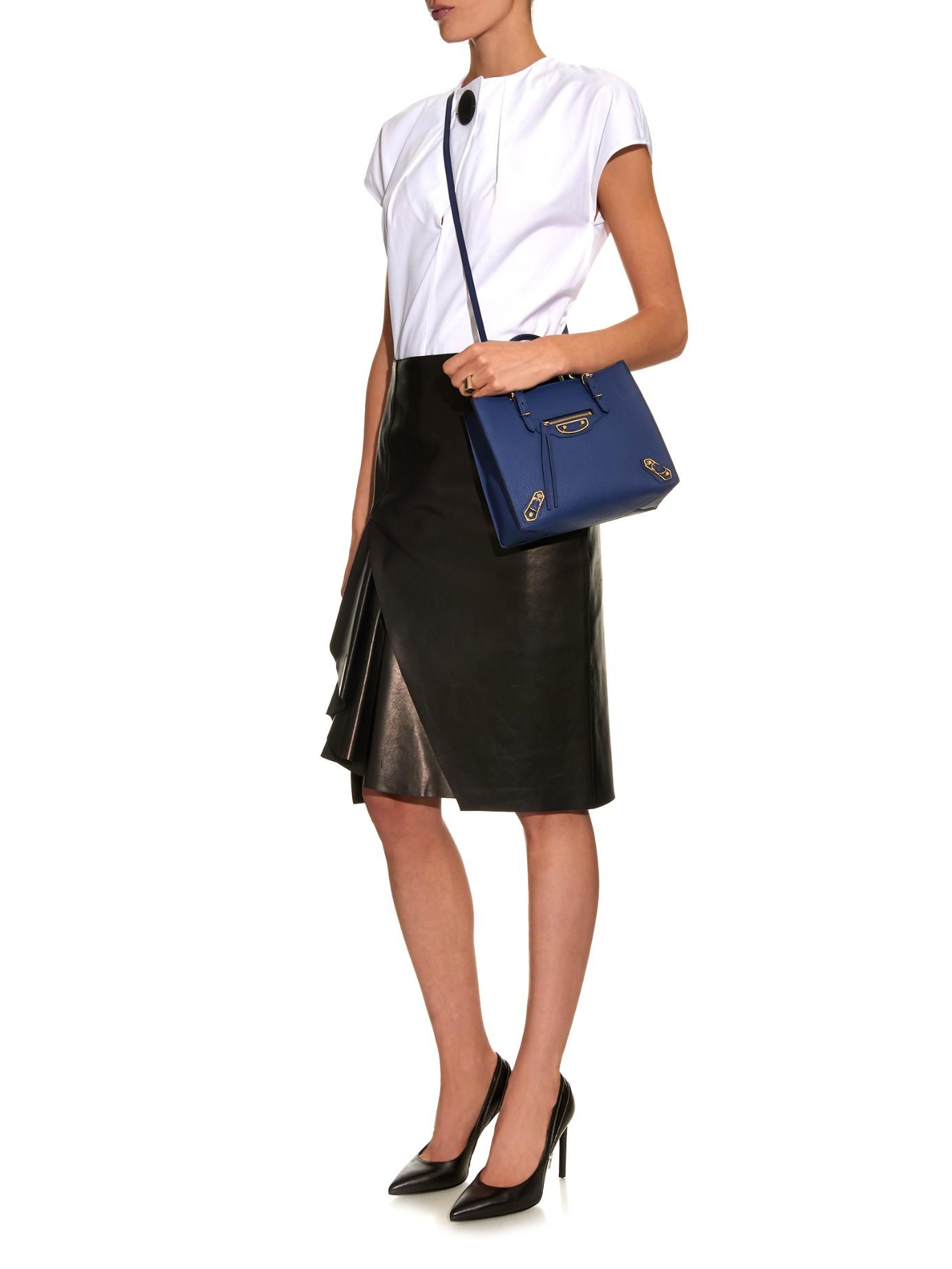 8f73a382d74 Balenciaga Papier A6 Metallic-edge Leather Shoulder Bag in Blue - Lyst