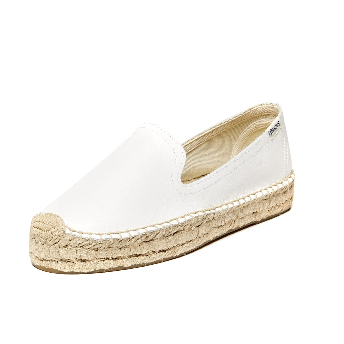 Soludos Leather Platform Smoking Slipper In White Lyst