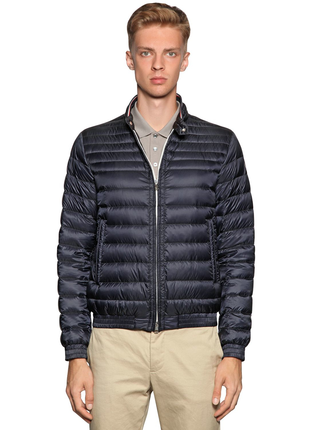 moncler garin lightweight nylon down jacket in blue for men lyst. Black Bedroom Furniture Sets. Home Design Ideas