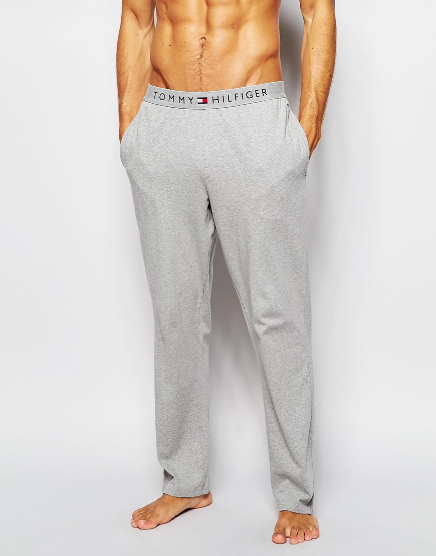 Tommy Hilfiger Icon Cotton Pant In Regular Fit In Gray For