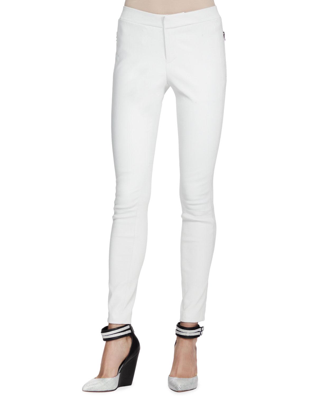 Lastest Brand White Leather Leggings In White  Lyst