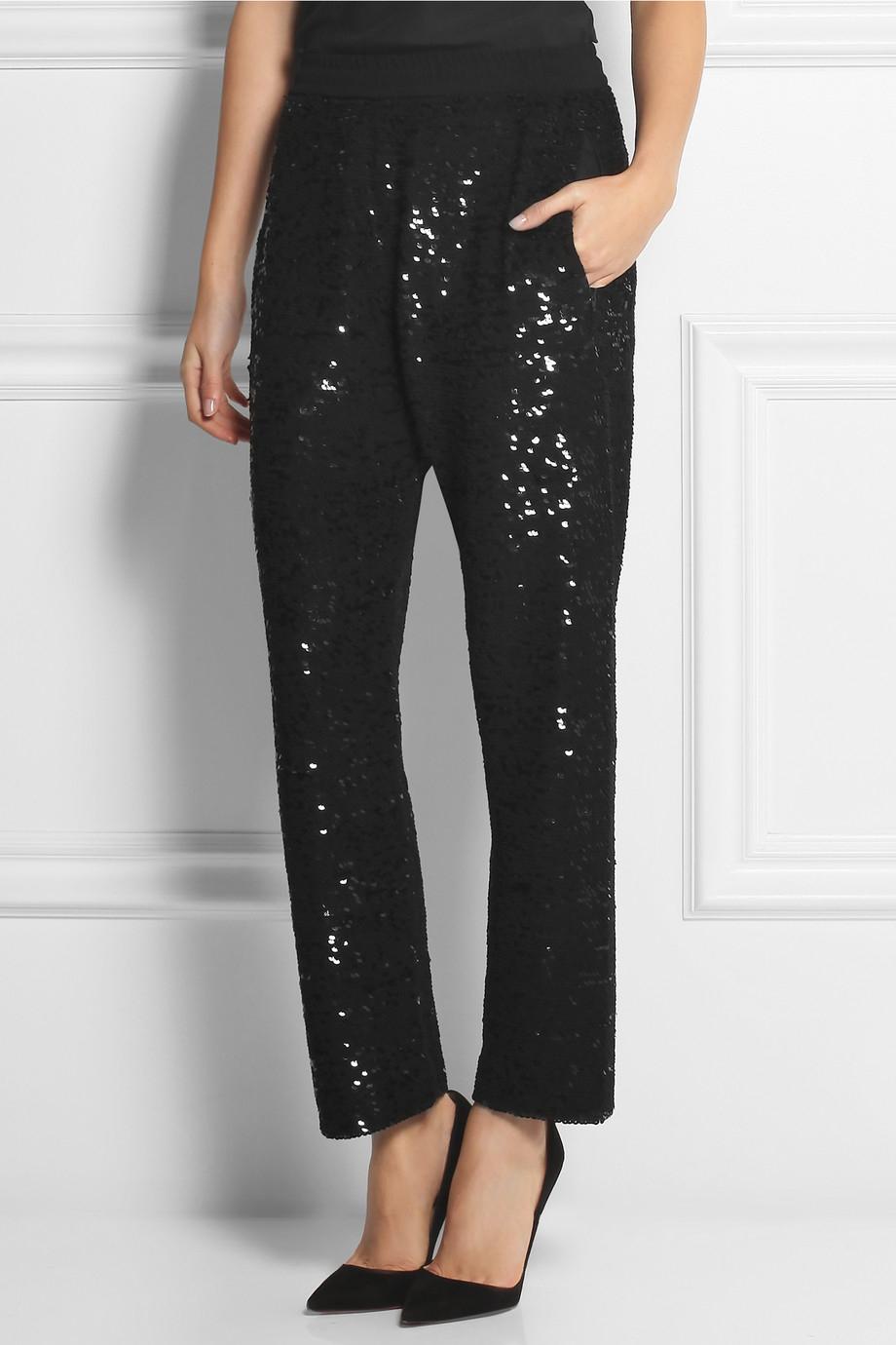 Ashish Sequined Silk-Georgette Straight-Leg Pants in Black