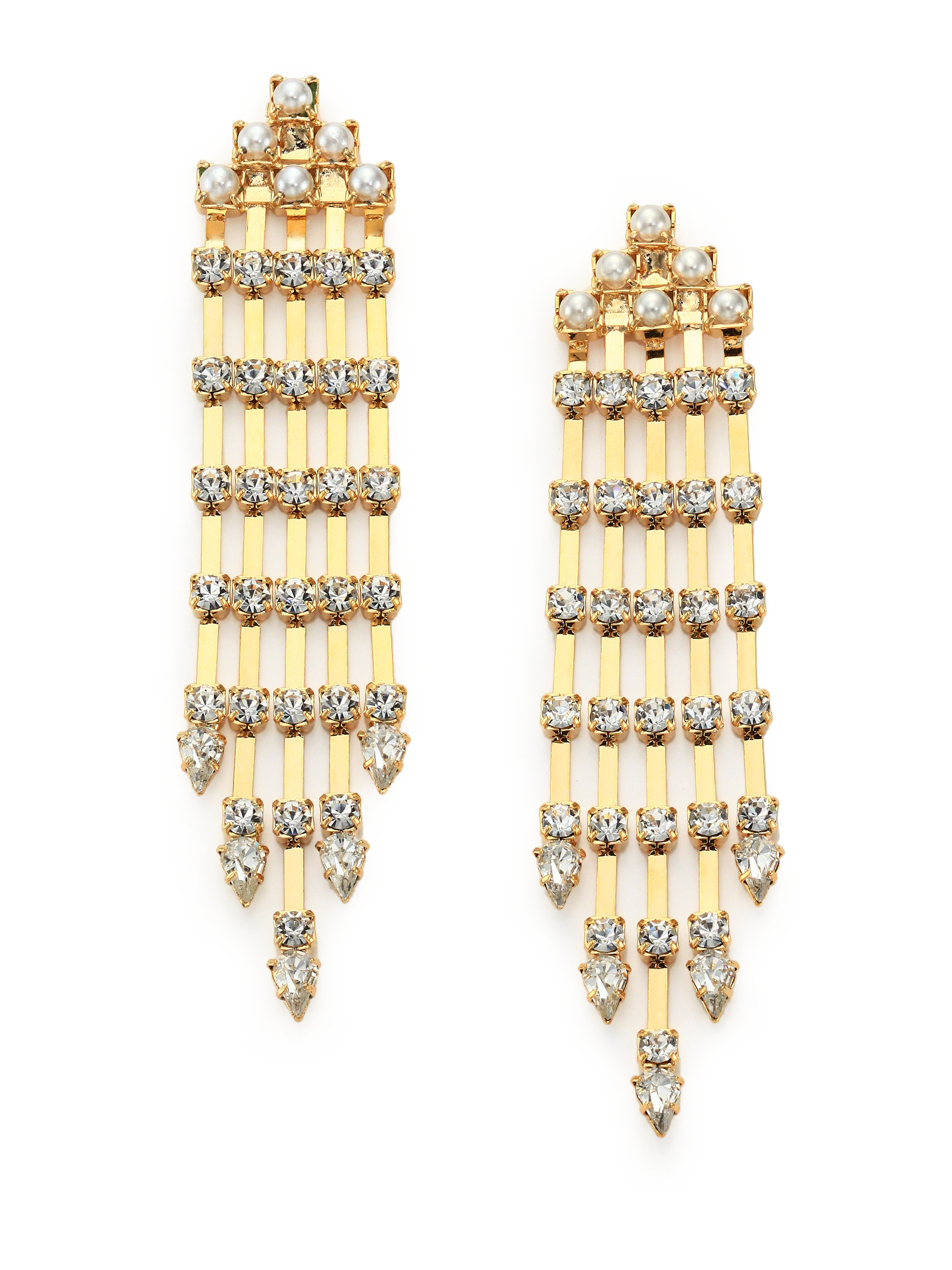 Lyst dannijo riles crystal faux pearl fringe earrings in metallic gallery arubaitofo Gallery