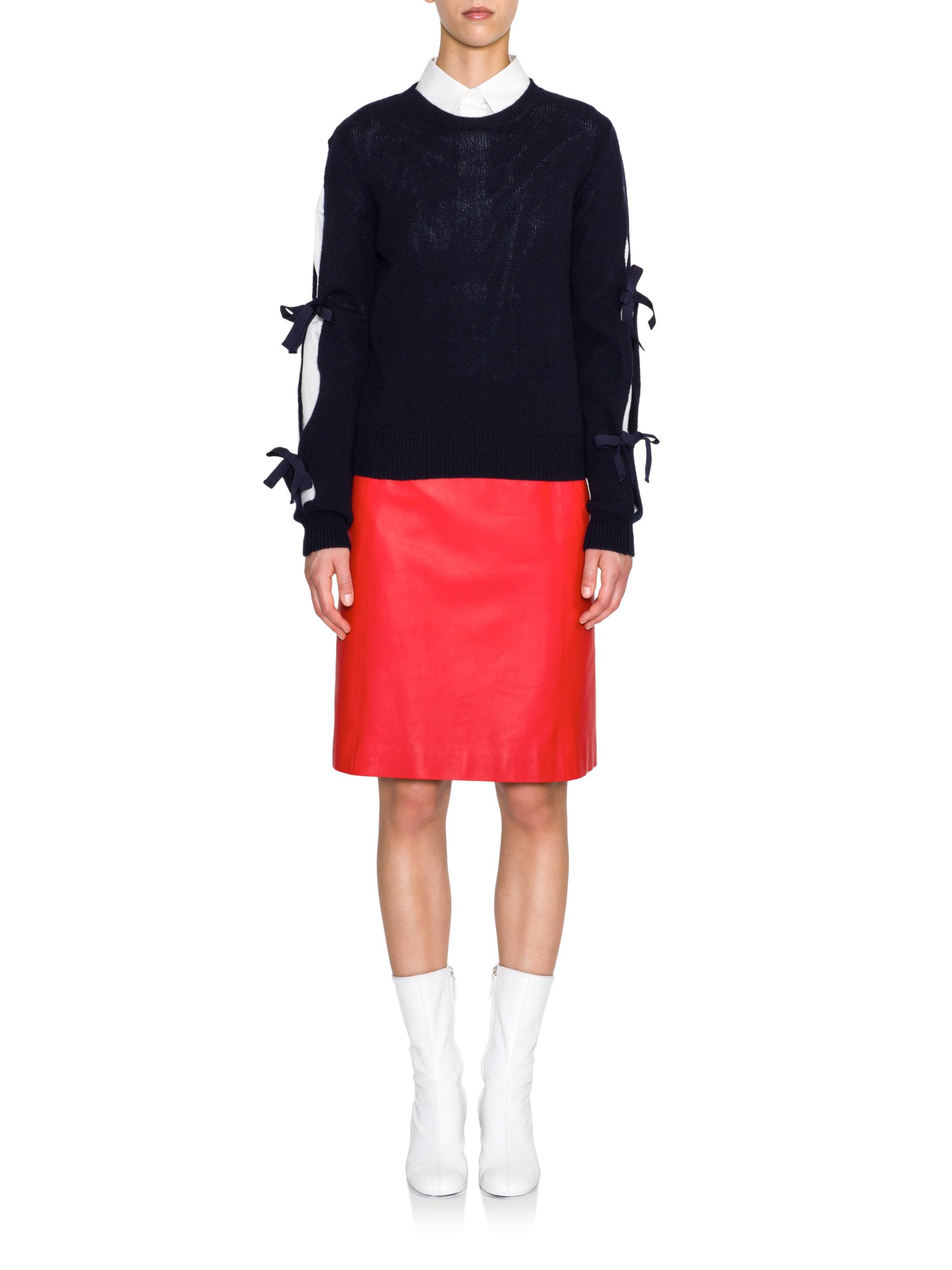 Lyst Jil Sander Bow Detail Slit Sleeve Cashmere Sweater