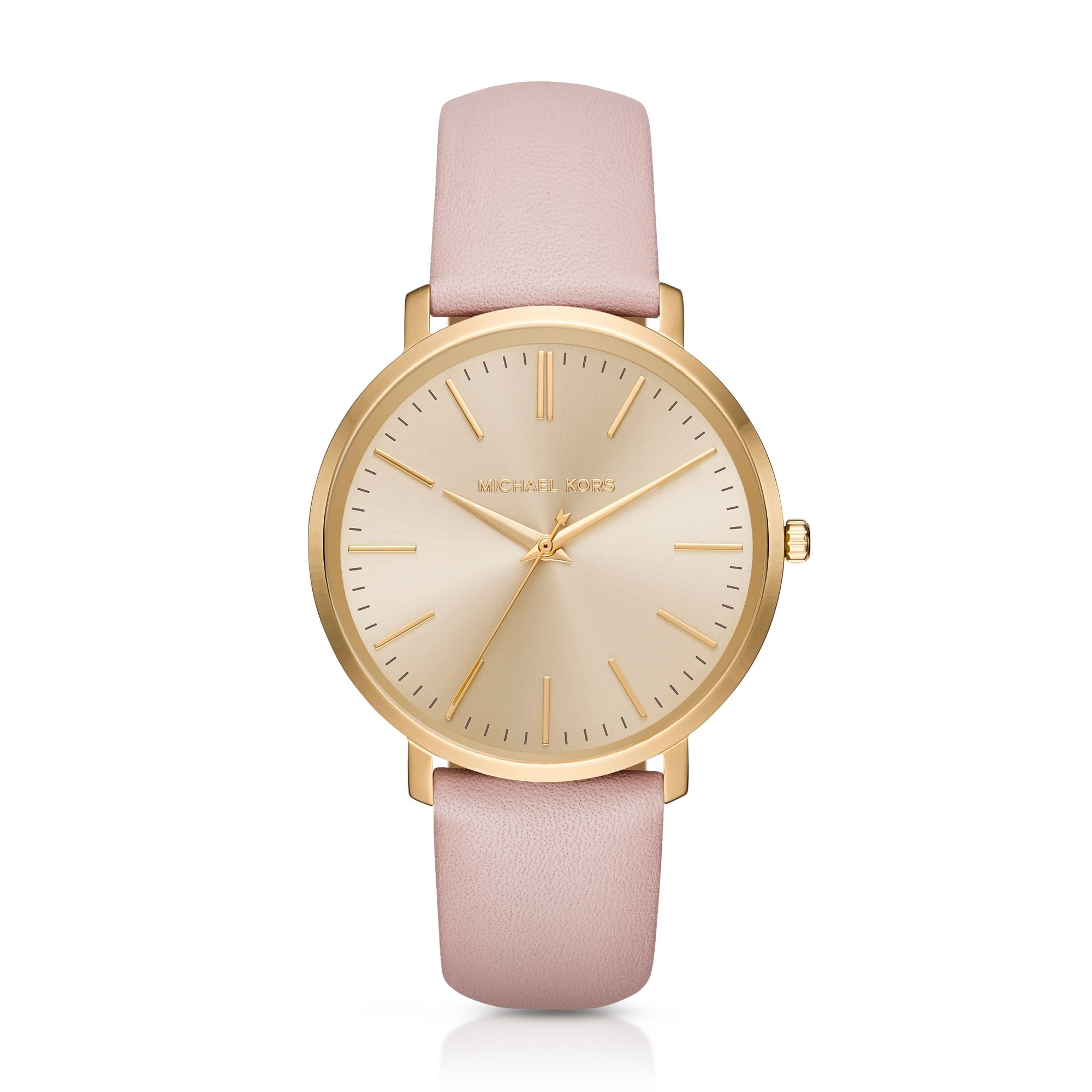 michael kors jaryn gold tone leather band in gold