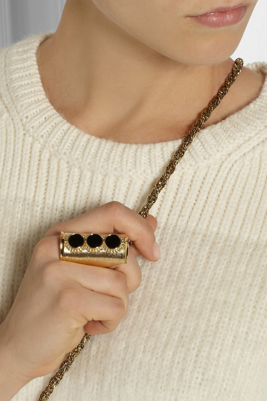 Chloé Gold-Tone Onyx Ring in Black
