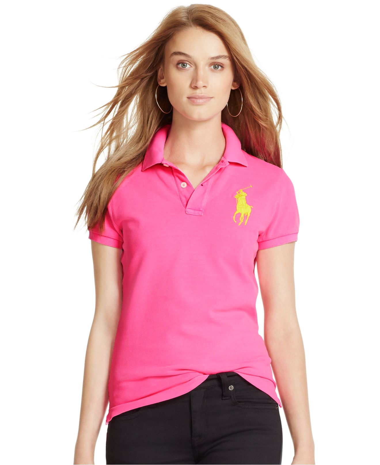 Lyst - Polo Ralph Lauren Skinny-fit Big Pony Polo Shirt in Pink 64cdaac060fb