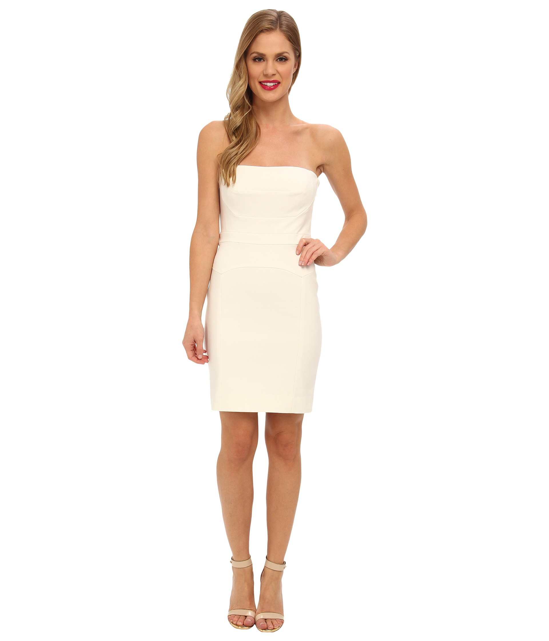 Nicole miller Techy Cotton Strapless Fitted Dress in White | Lyst