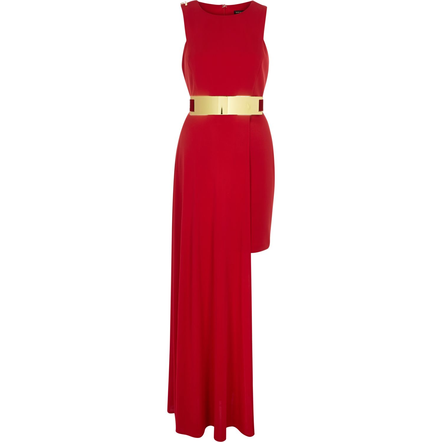 e495ad904698 River Island Red Belted High Low Hem Dress in Red - Lyst