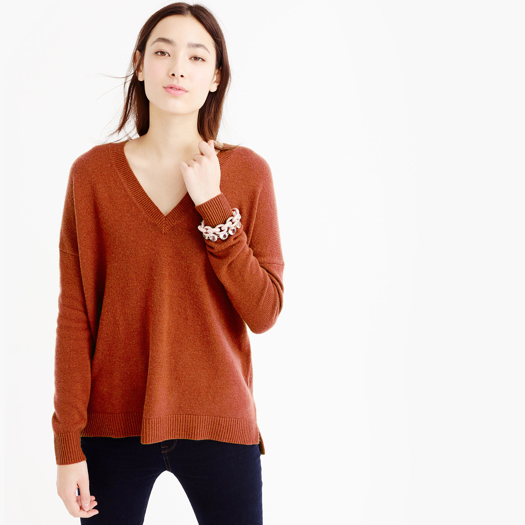 J.crew Petite V-neck Tunic Sweater in Brown | Lyst