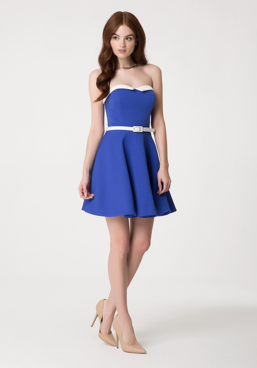 Bebe strapless jacquard dress in blue lyst gallery ombrellifo Images