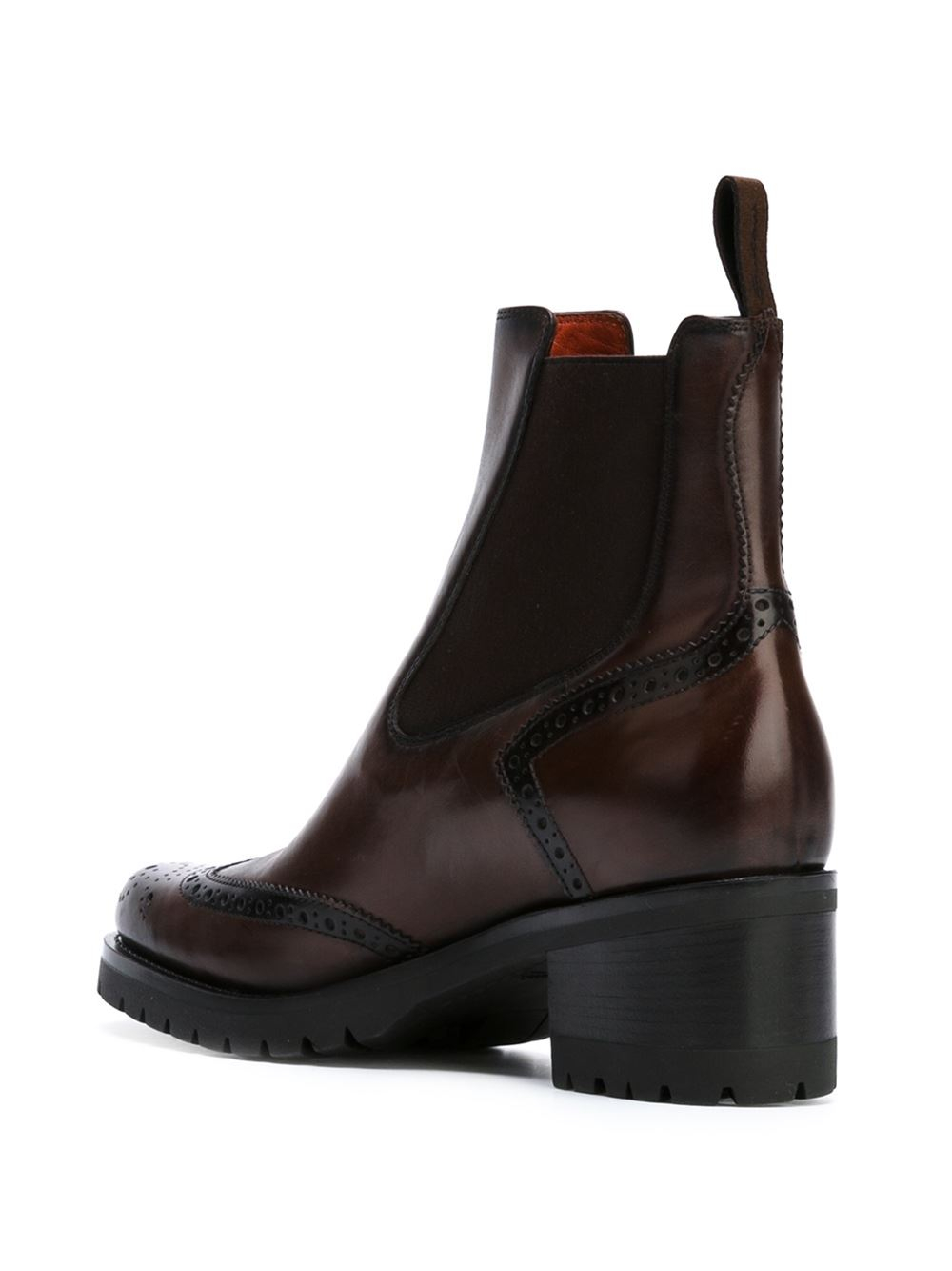 santoni broguing detail ankle boots in brown lyst
