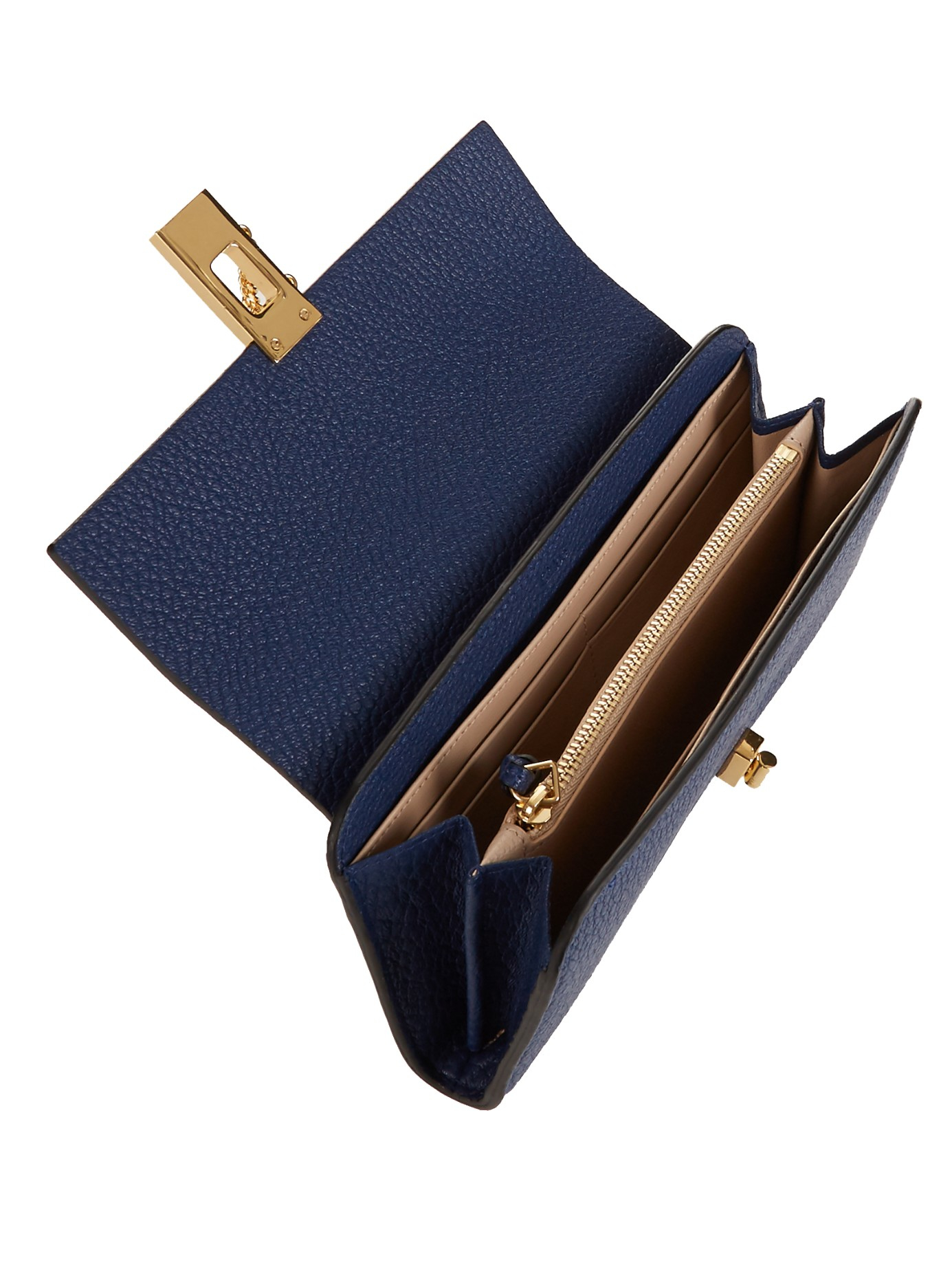Chloé Drew Grained-Leather Continental Wallet in Blue