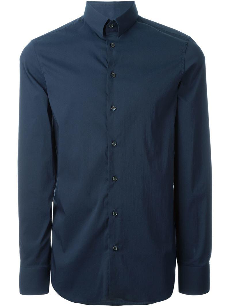 giorgio armani classic shirt in blue for men lyst