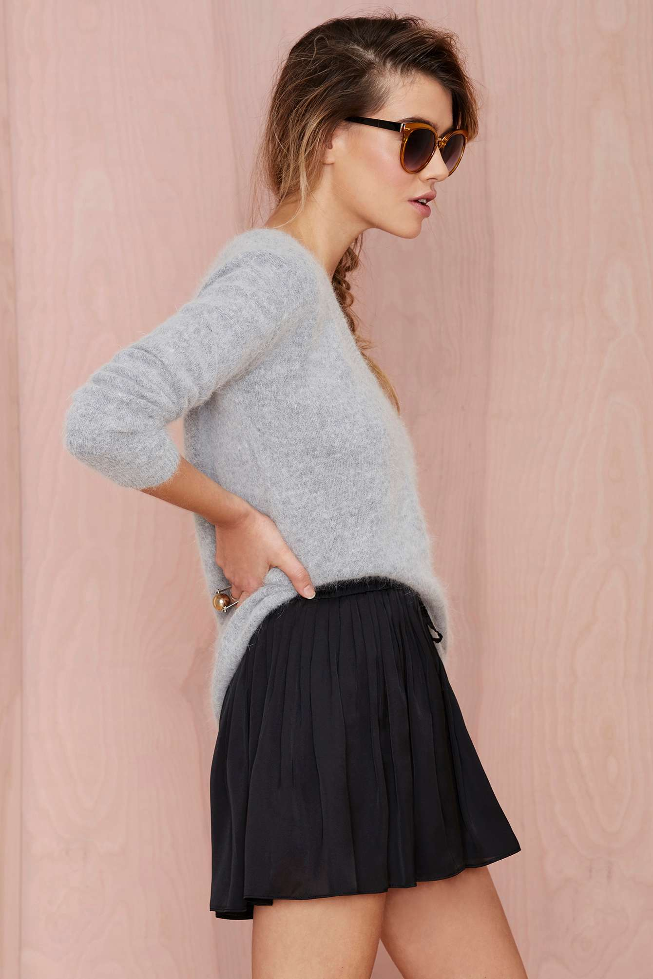 Nasty gal tiny dancer pleated shorts in black lyst for Gad garage mise a jour