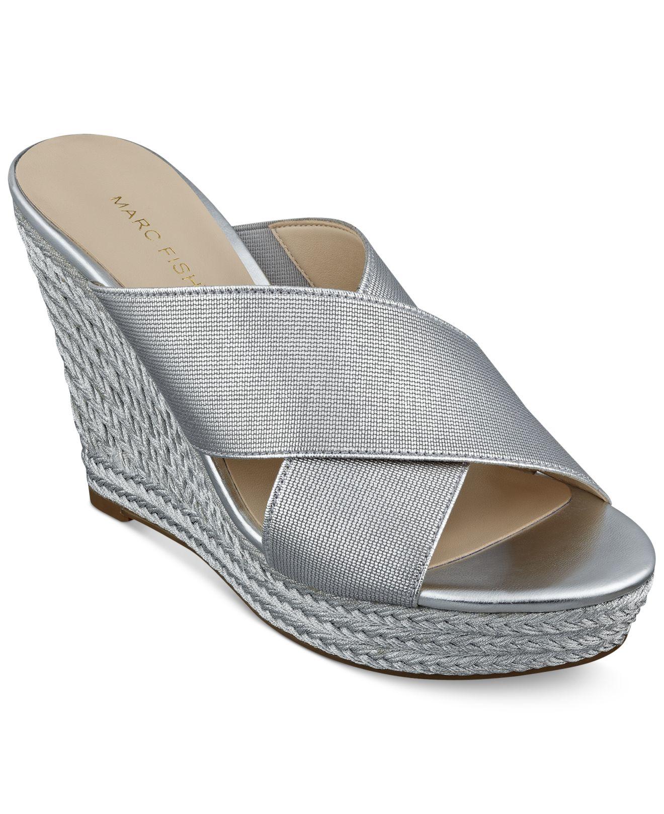 3121c4778ea Marc Fisher Metallic Engage Slide Platform Wedge Sandals