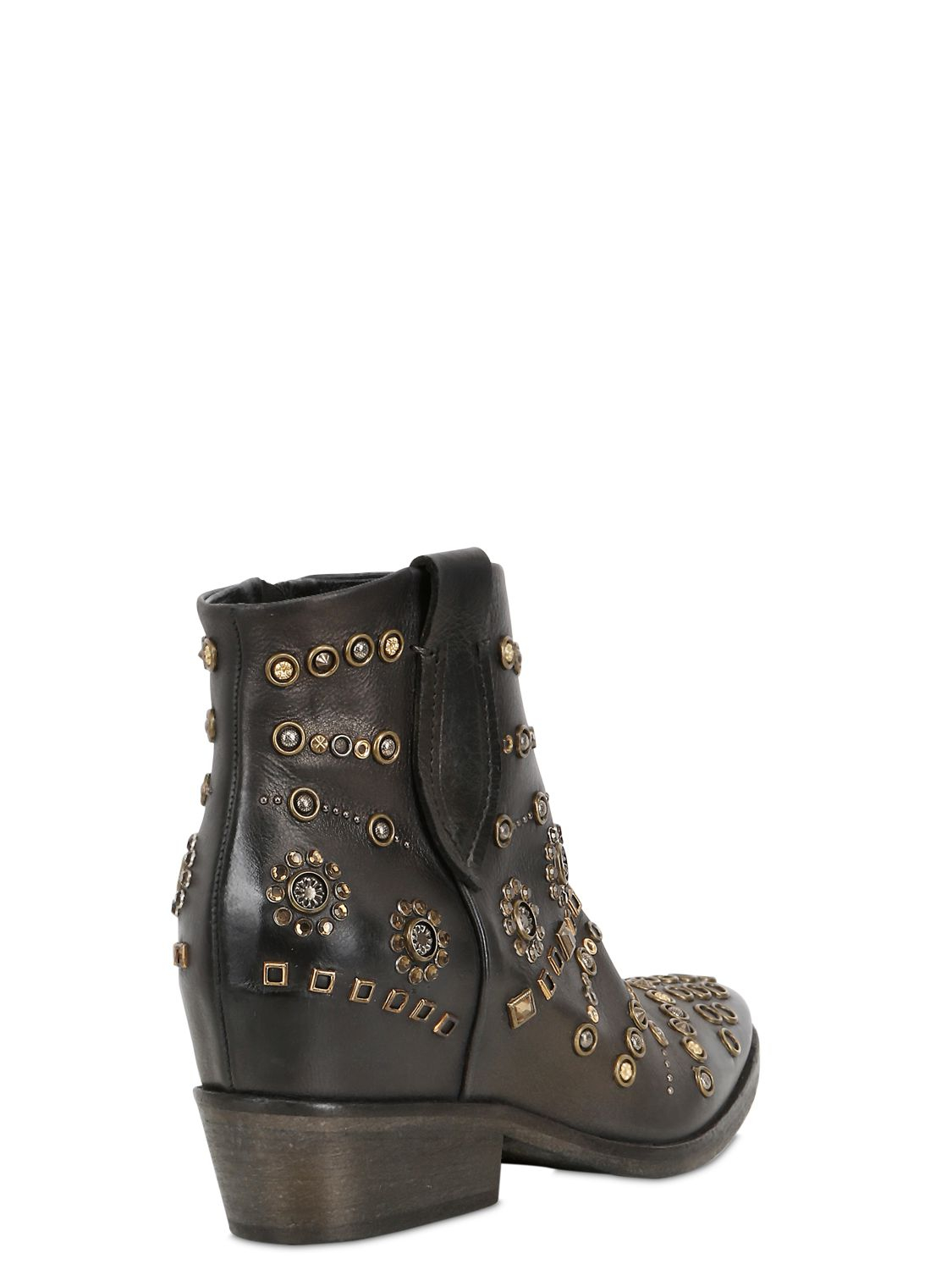 Strategia 80mm Embellished Leather Boots in Black