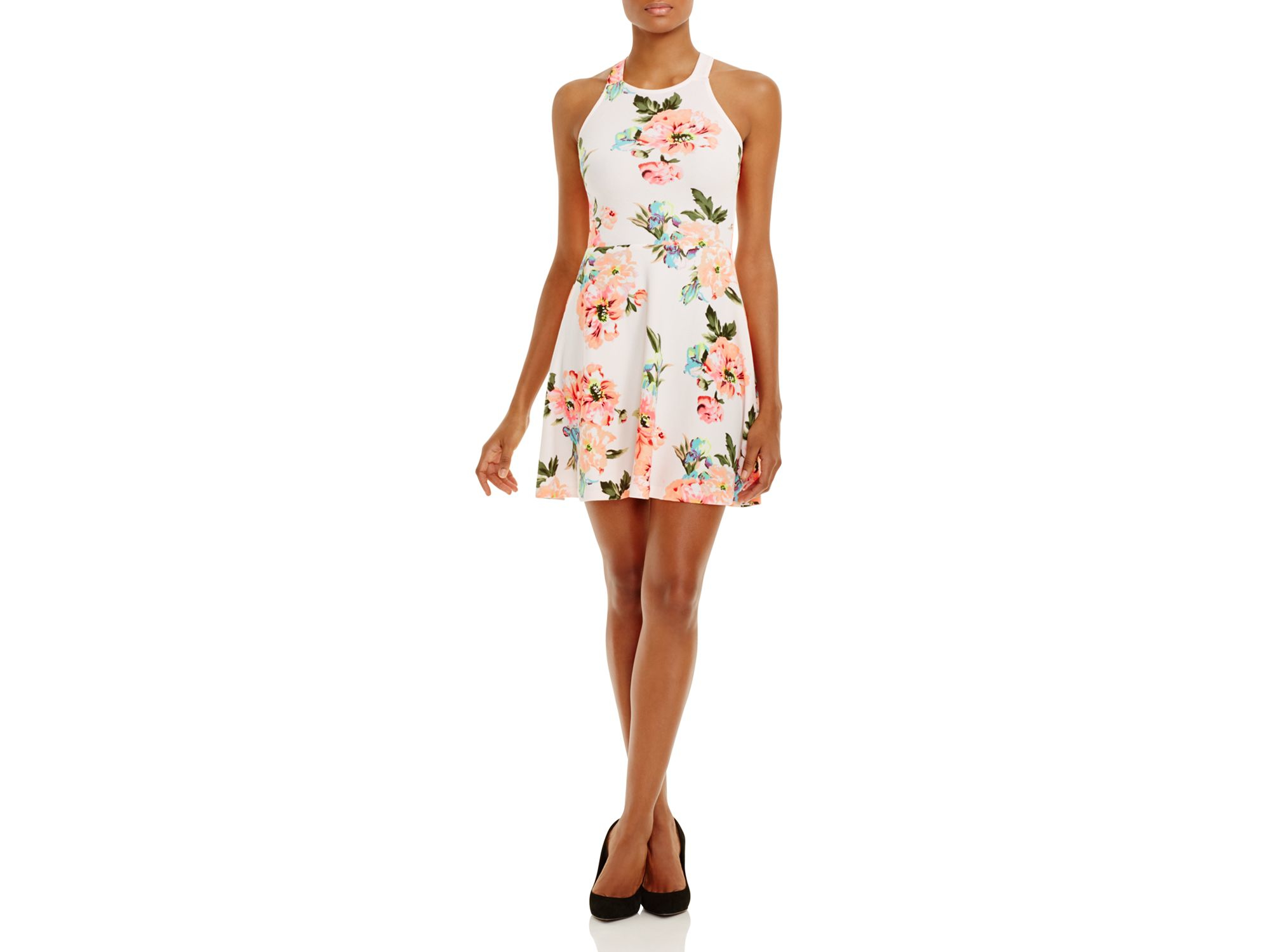 aqua floral print crossover back dress in pink lyst
