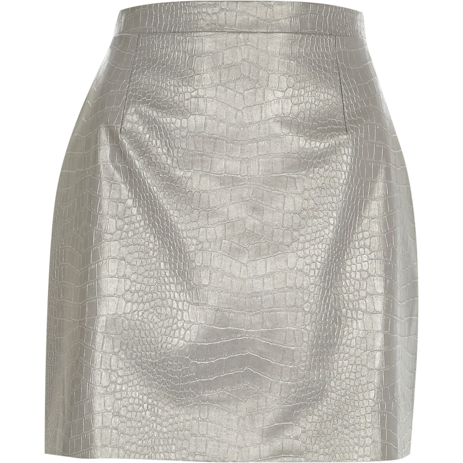 river island silver leather look mock croc mini skirt in